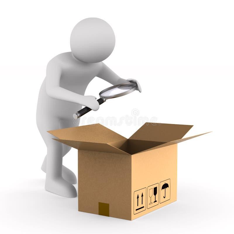 Человек с увеличителем и открытым грузом коробки на белой предпосылке isola бесплатная иллюстрация