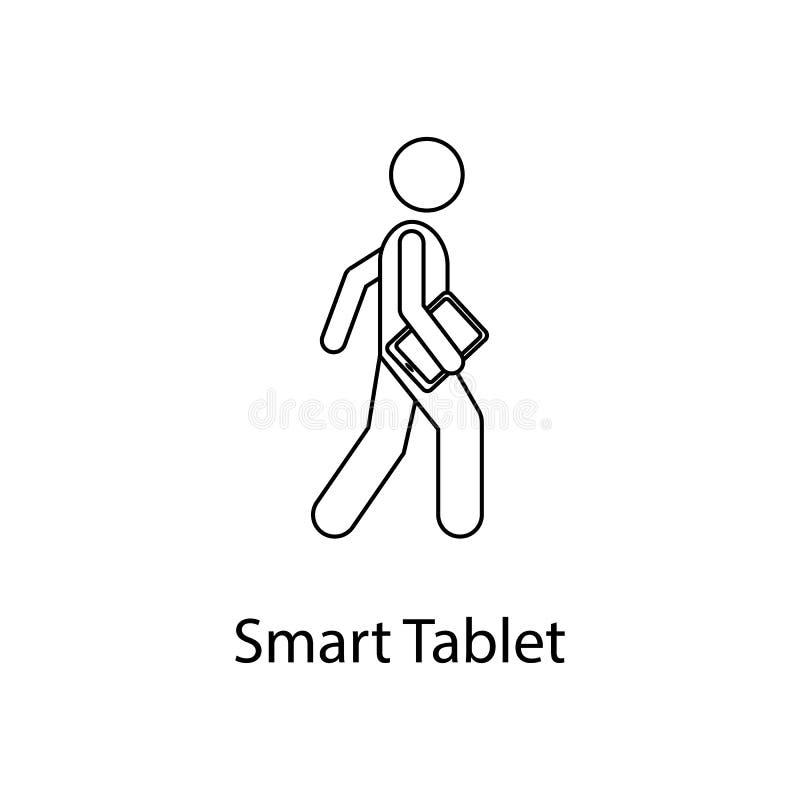 человек с умной иллюстрацией таблетки Элемент персоны носит для передвижных apps концепции и сети Тонкая линия человек с умной та бесплатная иллюстрация
