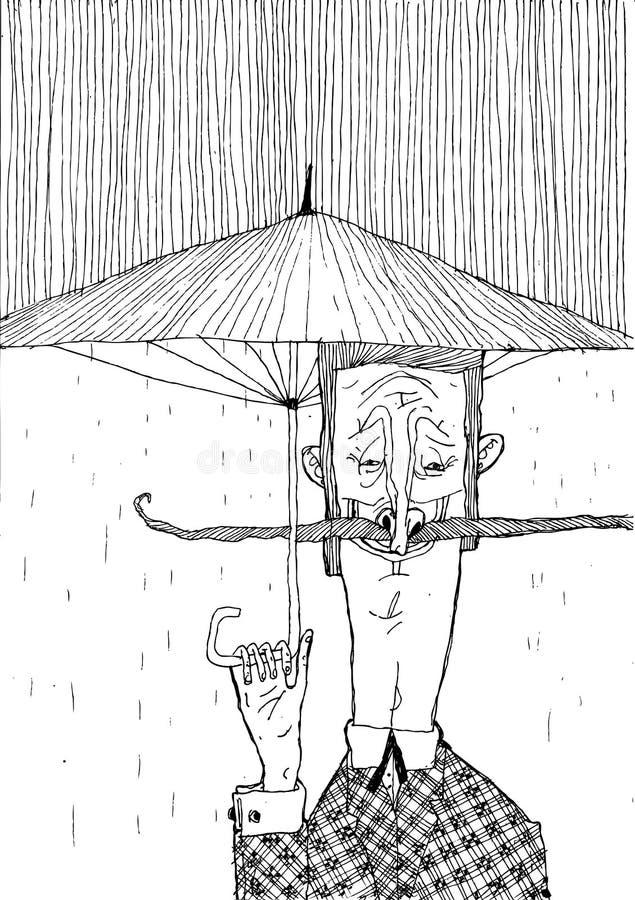 Человек с усиком и зонтиком в дожде Черно-белые стильные графики для плакатов и продукции печати иллюстрация вектора