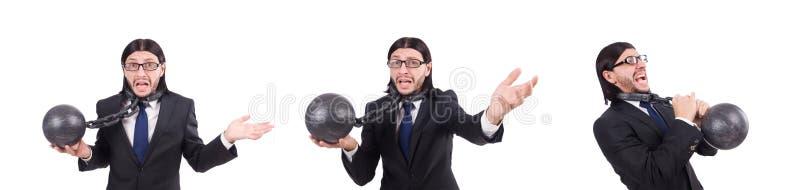 Человек с цепью изолированной на белизне стоковое изображение