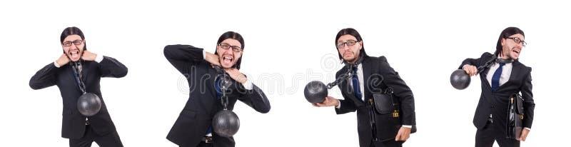 Человек с цепью изолированной на белизне стоковые изображения rf