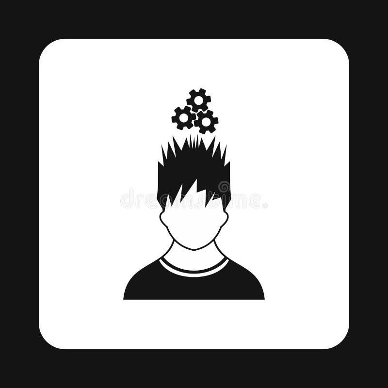 Человек с шестернями над его головным значком, простым стилем иллюстрация вектора