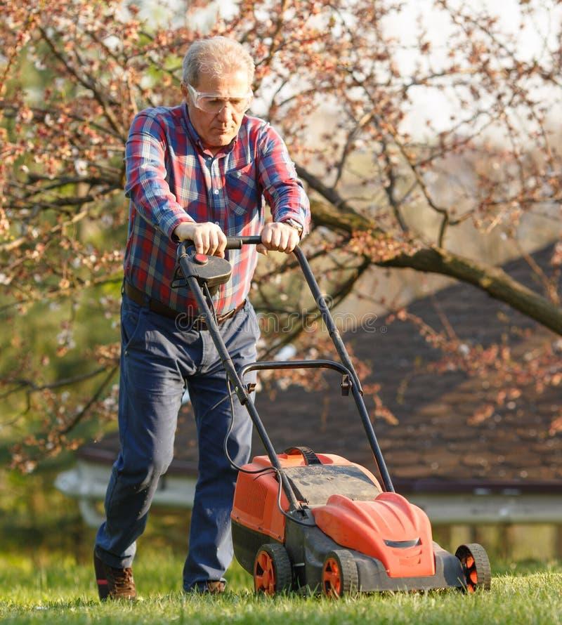 Человек с электрической травокосилкой, косить лужайки Садовник уравновешивая сад Солнечный день, пригород, деревня стоковая фотография