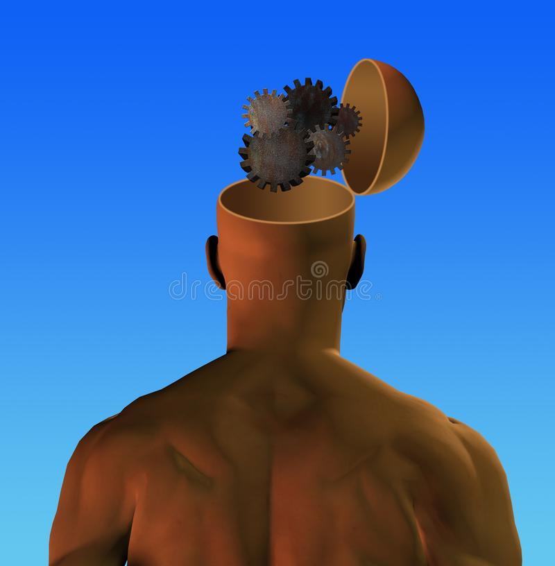 Человек с cogwheels в голове иллюстрация штока