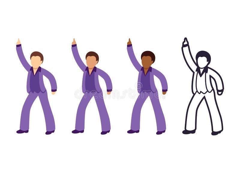 Человек танцев диско иллюстрация вектора