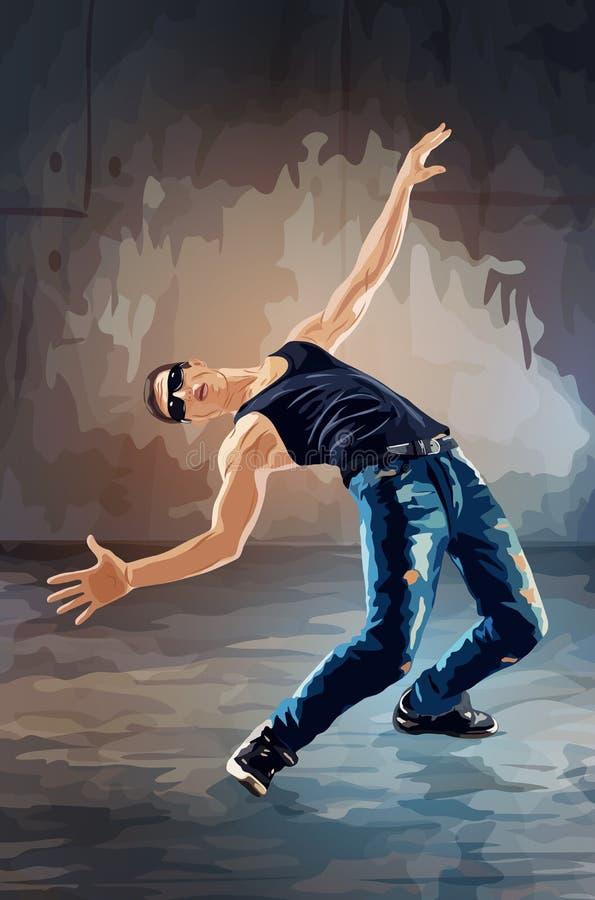 Человек танцев пролома иллюстрация вектора