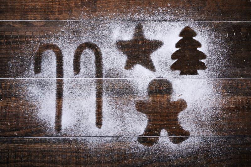 Человек тросточек, звезды, рождественской елки и пряника стоковое изображение
