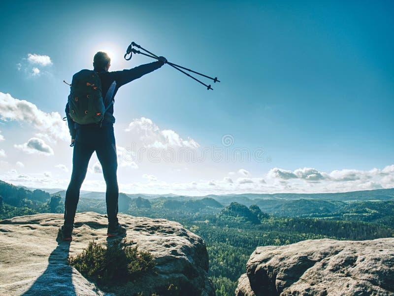 Человек туриста или hiker с рюкзаком и trekking поляками стоковые фотографии rf