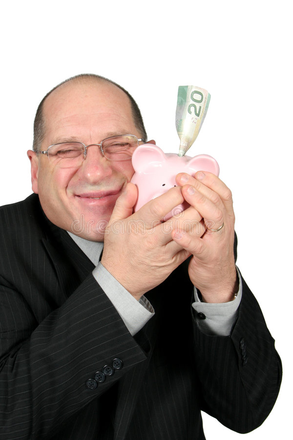 человек удерживания дела банка piggy стоковое изображение