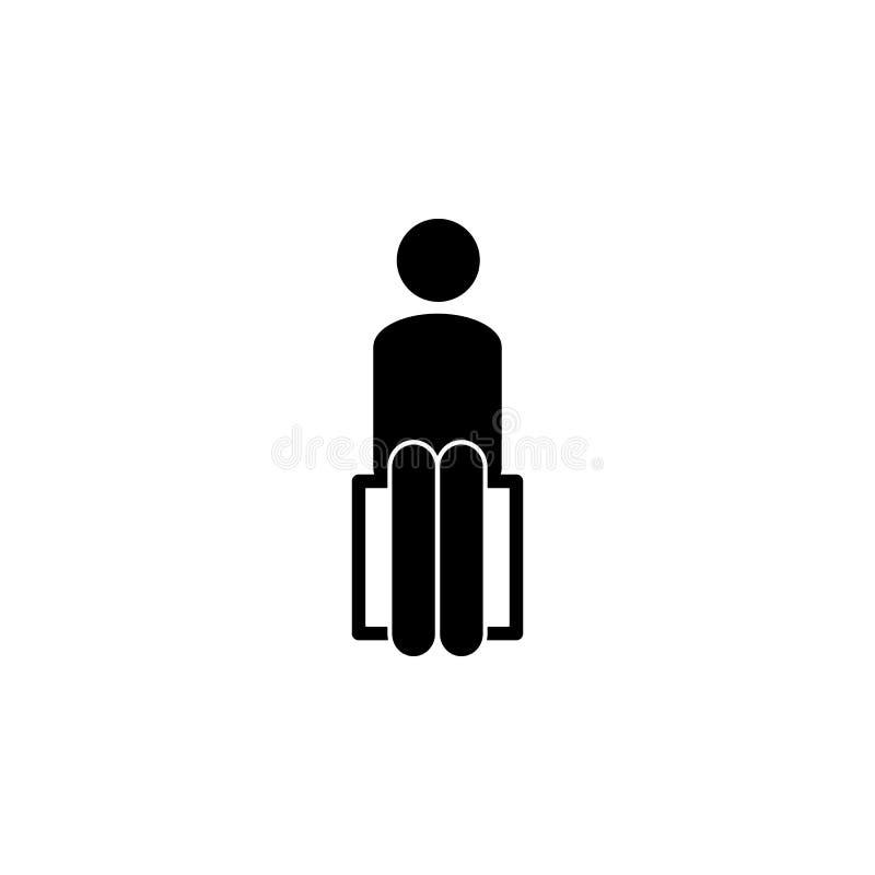 человек, усаживание, значок стула Элемент человека сидит значок для передвижных apps концепции и сети Детальный человек, усаживан иллюстрация штока