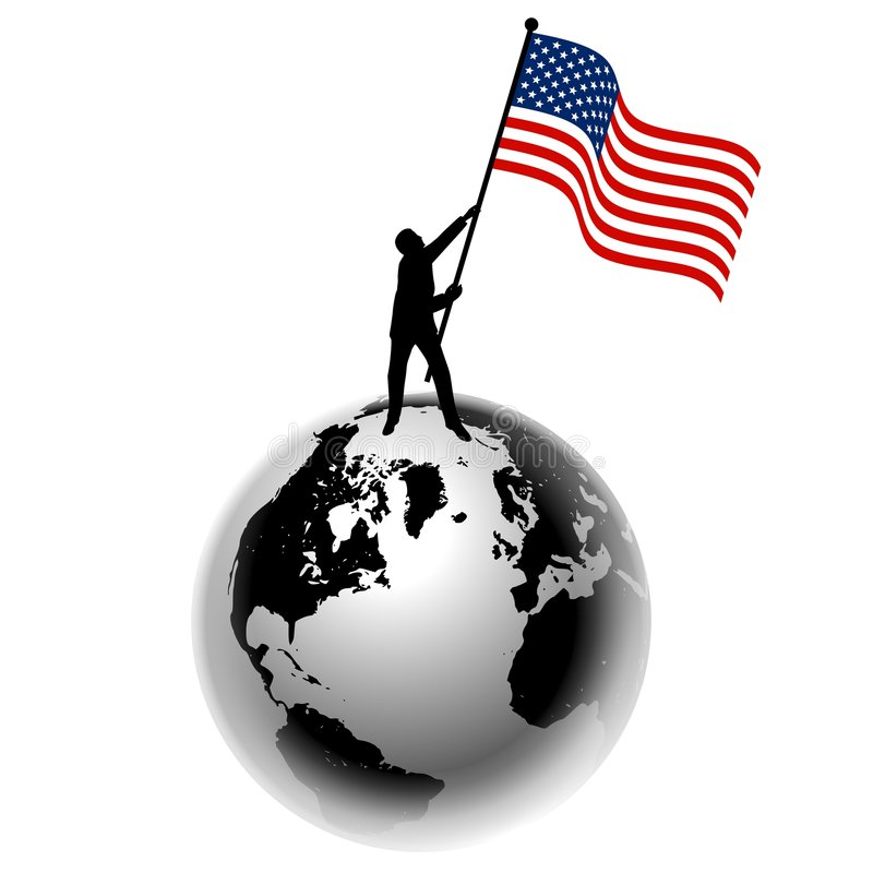 человек флага земли поднимая нас иллюстрация штока