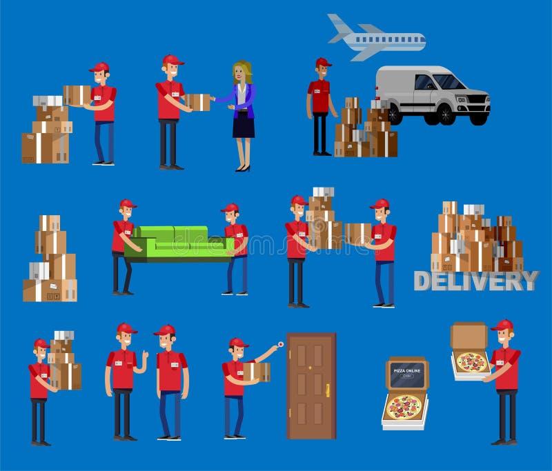 Человек характера поставки смешного носильщика мелких грузов пиццы смешной иллюстрация вектора