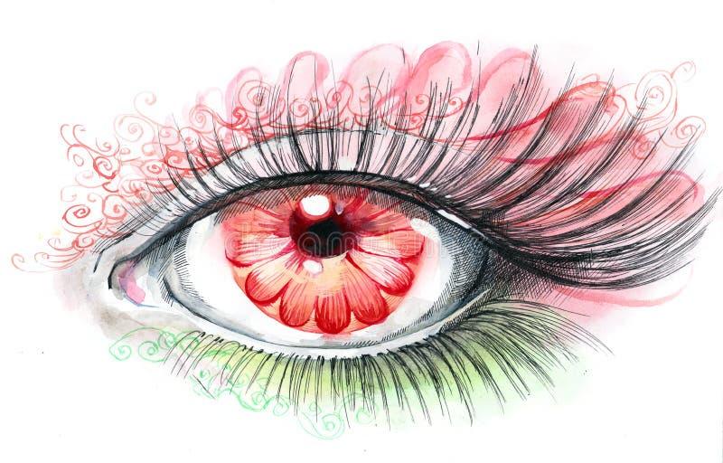 человек цветка глаза иллюстрация штока