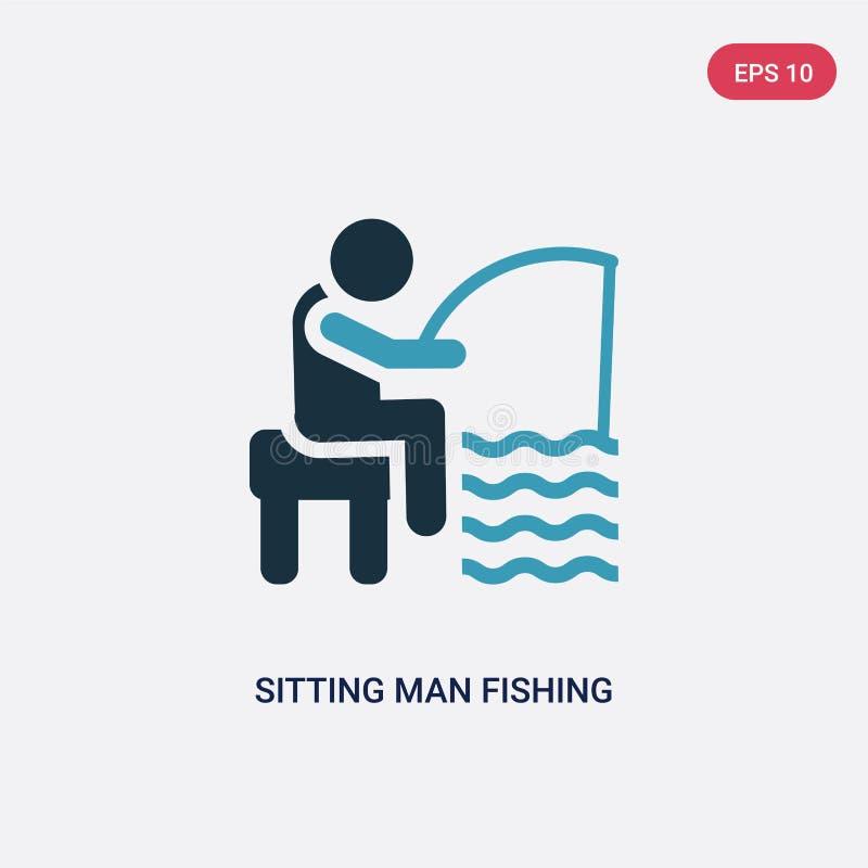 Человек 2 цветов сидя удя значок вектора от концепции людей изолированный голубой сидя человек удя символ знака вектора может быт иллюстрация вектора