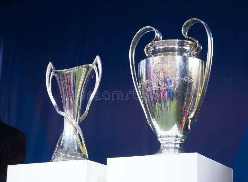 Человек чашки лиги чемпионов UEFA, женщина стоковые фотографии rf