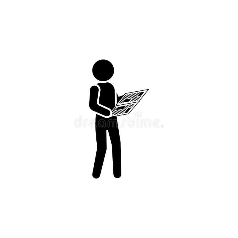 Человек читает значок газеты бесплатная иллюстрация