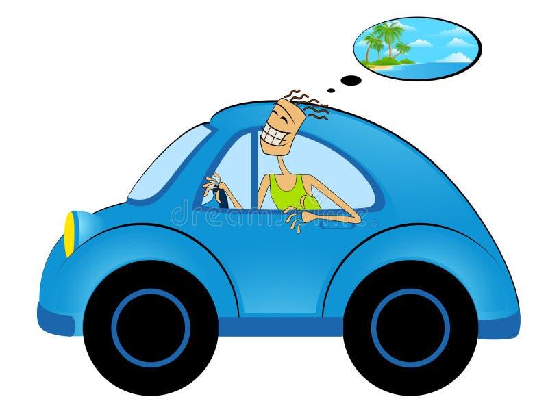 человек шаржа автомобиля иллюстрация вектора