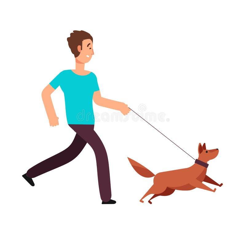 Человек шаржа бежать с собакой Здоровая концепция вектора образа жизни иллюстрация штока