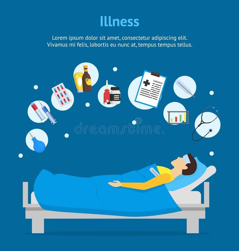 Человек шаржа больной в плакате карточки комплекта кровати и элемента вектор бесплатная иллюстрация