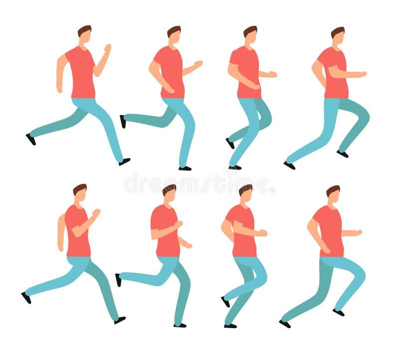 Человек шаржа идущий в вскользь одеждах Молодой мужчина jogging Последовательность рамок анимации изолировала комплект вектора бесплатная иллюстрация