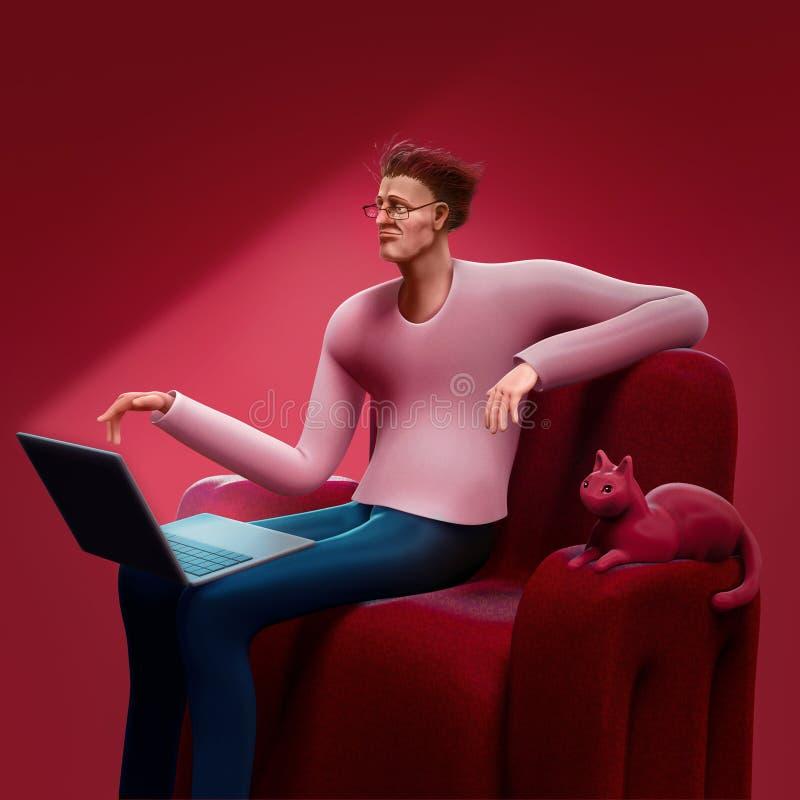 Человек шаржа сидя на софе смотря экран его иллюстрации компьтер-книжки 3D бесплатная иллюстрация