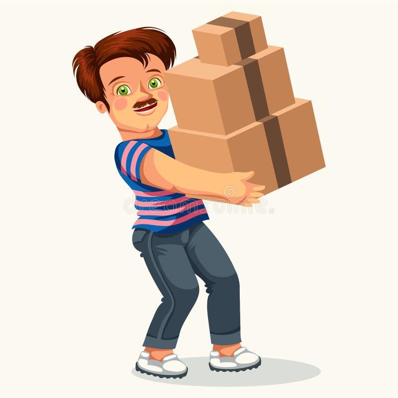 Человек шаржа с плакатом картонной коробки красочным бесплатная иллюстрация