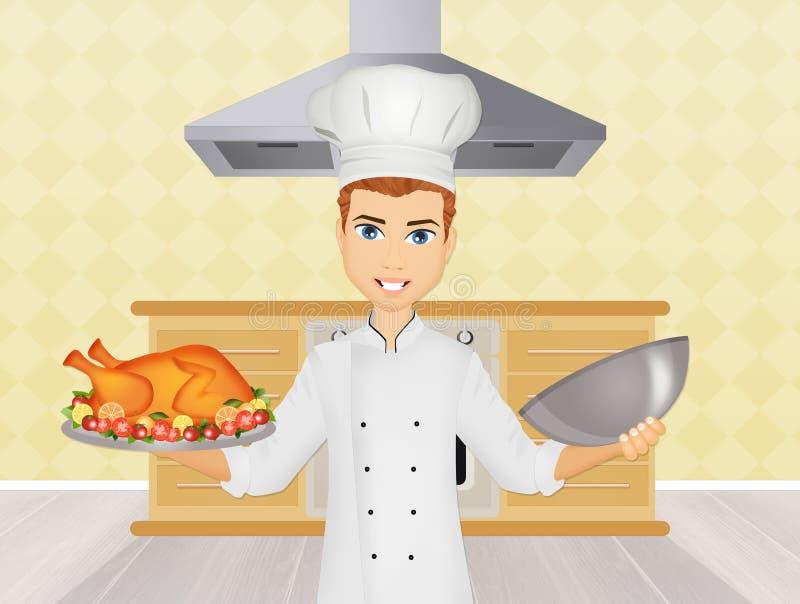 Человек шеф-повара в кухне иллюстрация штока