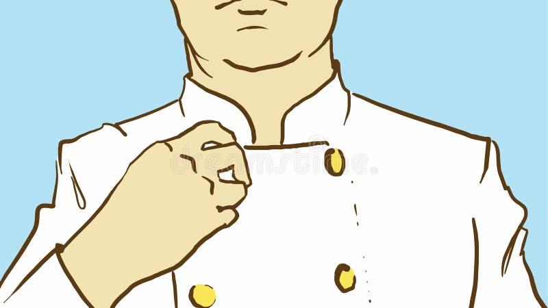 Человек штата шаржа кладя дальше или исправляя его форму иллюстрация штока