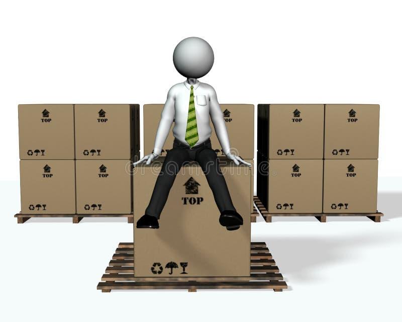 человек 2 коробок иллюстрация вектора