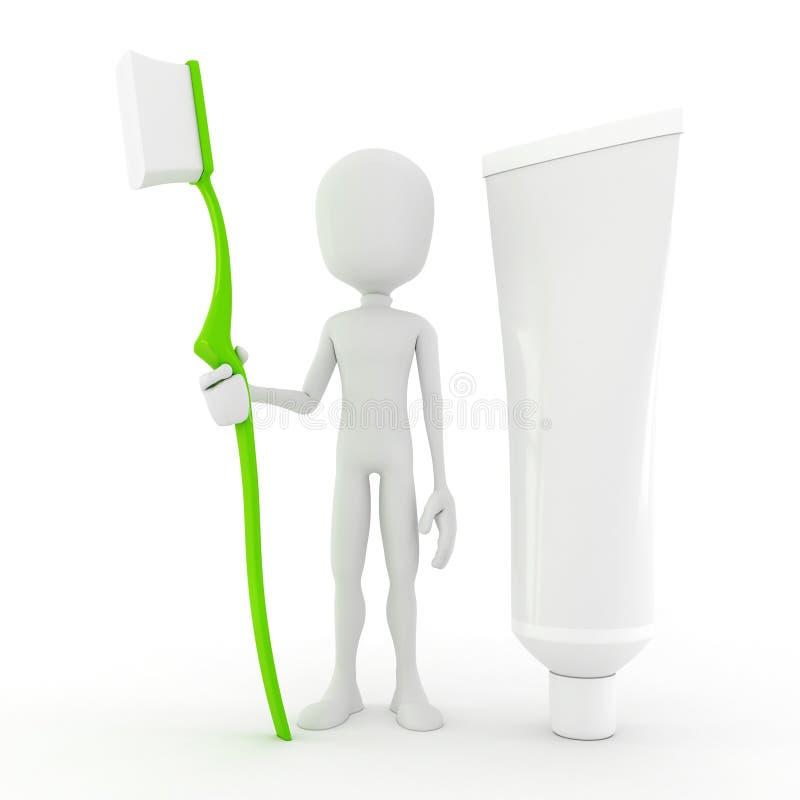 человек 3d держа зубную щетку бесплатная иллюстрация
