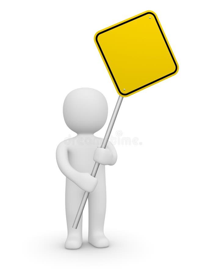 человек 3d держа пустой дорожный знак иллюстрация штока