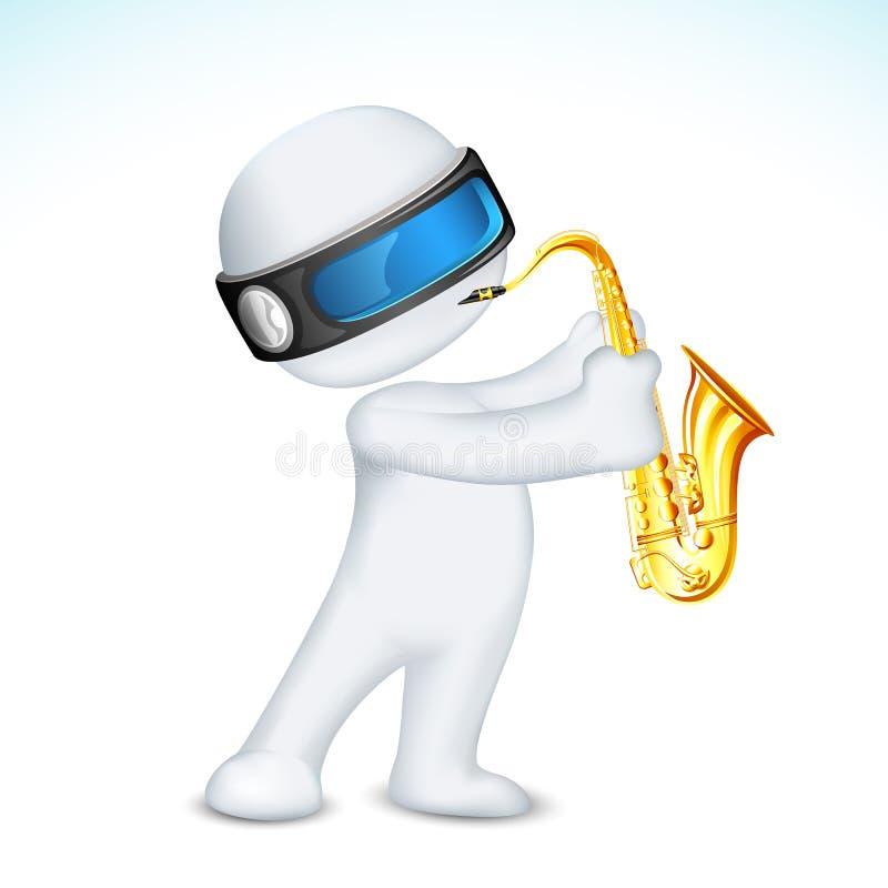 человек 3d играя саксофон иллюстрация вектора