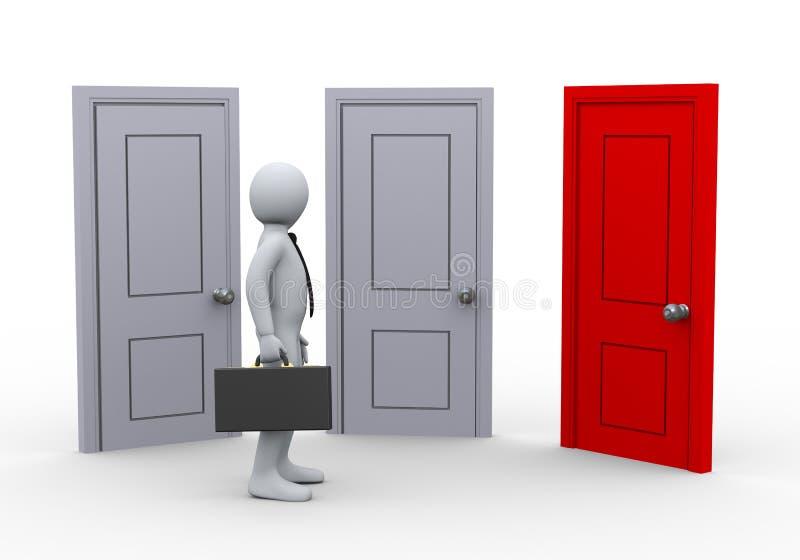человек 3d и 3 двери иллюстрация штока