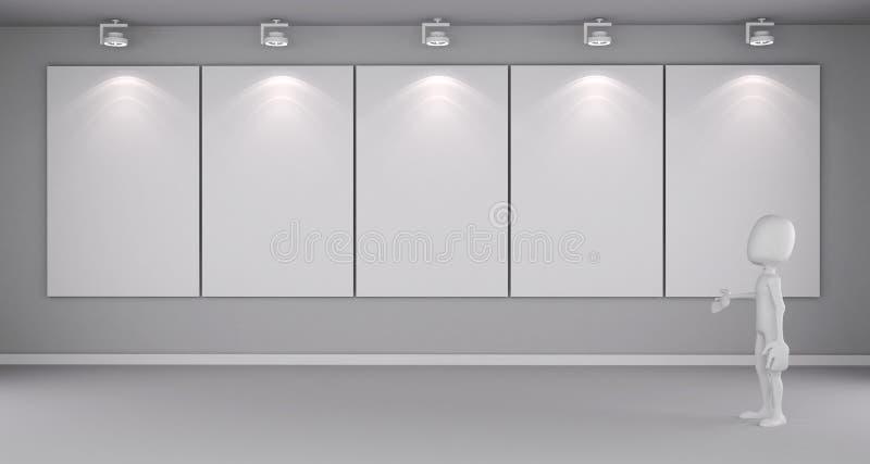 человек 3d стоя перед пустой холстиной иллюстрация штока