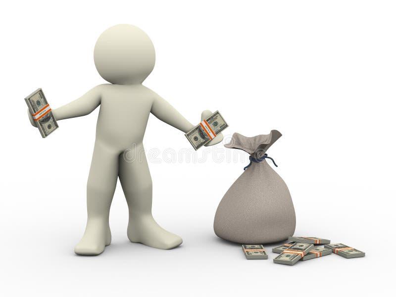 человек 3d с мешками денег иллюстрация вектора