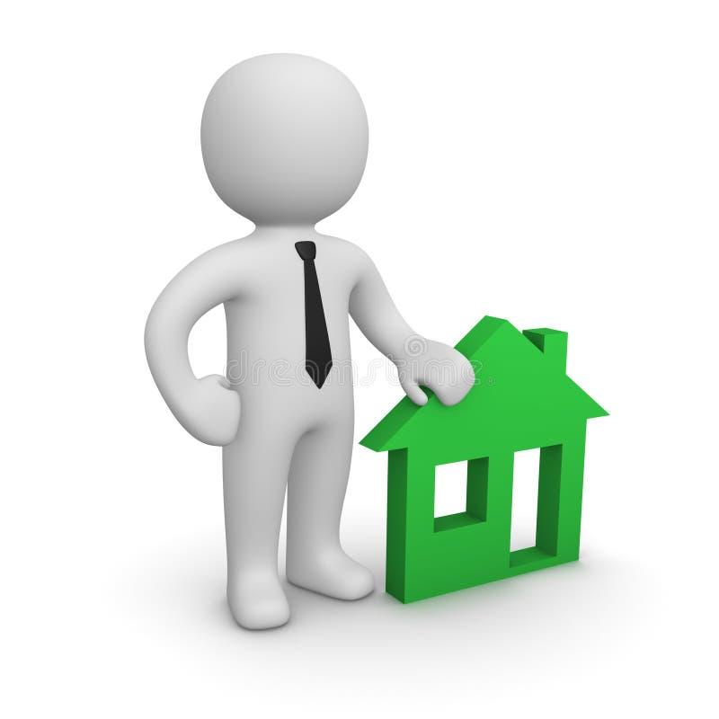 человек 3d с эмблемой дома бесплатная иллюстрация