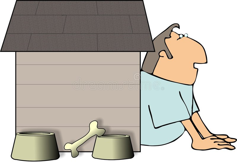 человек doghouse иллюстрация штока