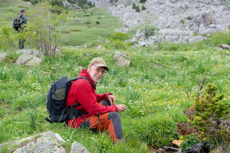 Человек Hiker с рюкзаком ослабляя в ландшафте горы стоковая фотография