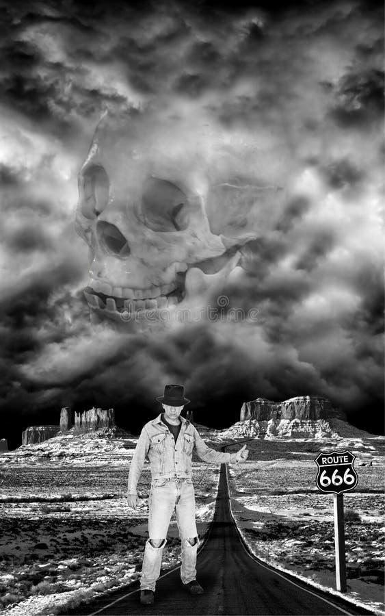 Человек Hitchhiking на хайвее к аду
