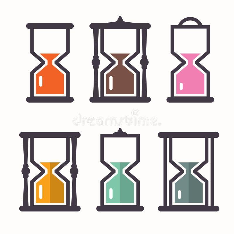 человек hourglass часов предпосылки обнимая серый покрасил супоросых женщин живота песка Значки дизайна вектора ретро плоские бесплатная иллюстрация