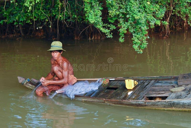 человек khmer рыболовства стоковые фотографии rf