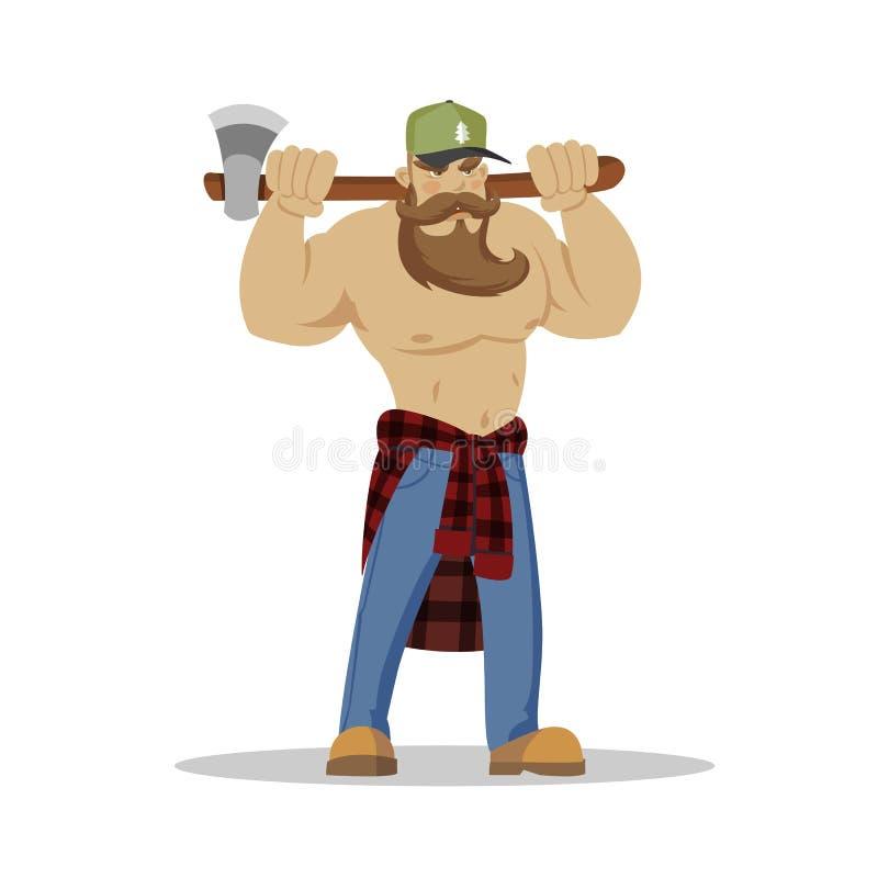 Человек Lumberjack зверский бородатый в красной checkered рубашке с осью в руках woodcutter Пеший туризм Wanderlust и концепция п иллюстрация вектора