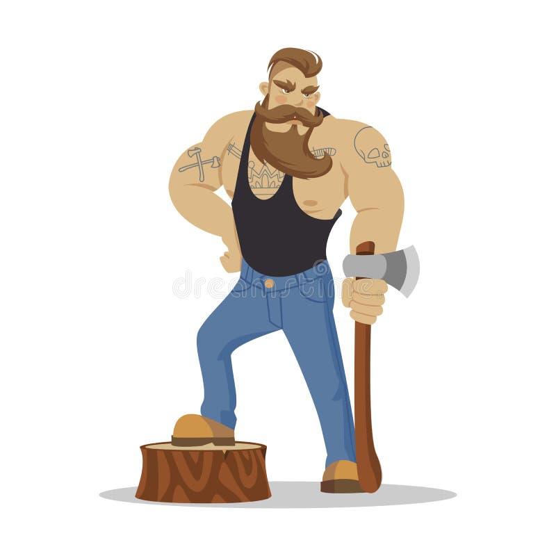 Человек Lumberjack зверский бородатый в красной checkered рубашке с осью в руках woodcutter Пеший туризм Wanderlust и концепция п иллюстрация штока
