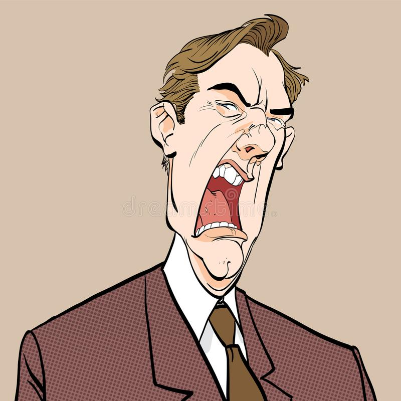 человек screaming сердитый босс Надоеданный политик сердитый человек Человек неистовства иллюстрация штока
