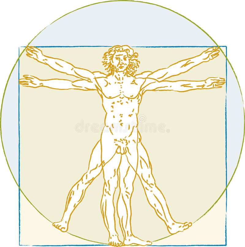 Человек Vitruvio иллюстрация вектора