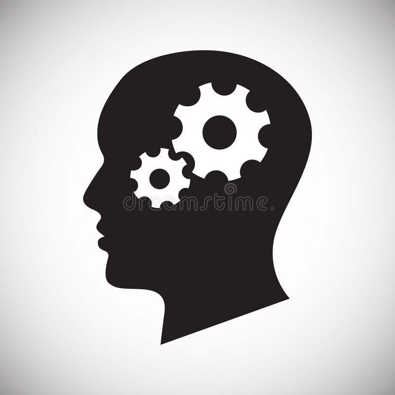 Человеческая голова со значком шестерней на белой предпосылке для графика и веб-дизайна, современного простого знака вектора инте иллюстрация штока