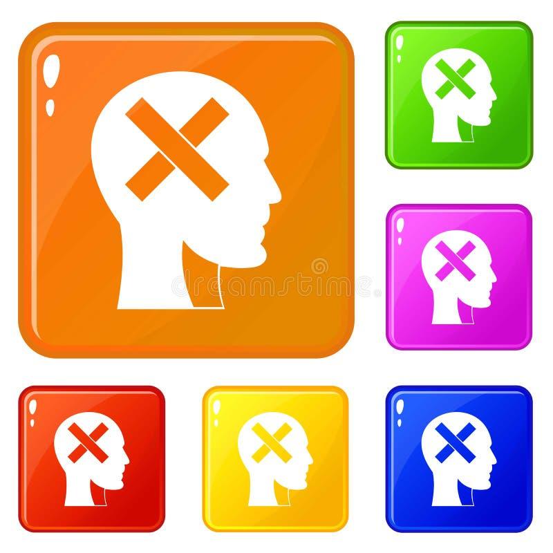 Человеческая голова с крестом внутри значков установила цвет вектора иллюстрация вектора