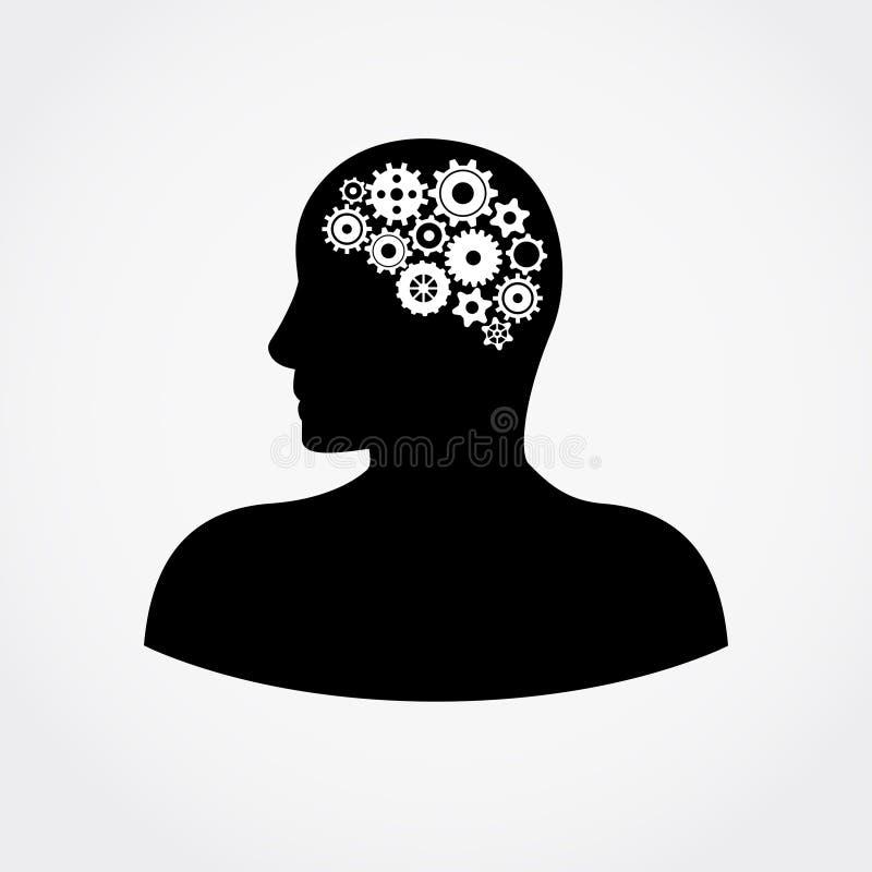 Человеческая голова с шестернями внутри плоской иллюстрации вектора бесплатная иллюстрация
