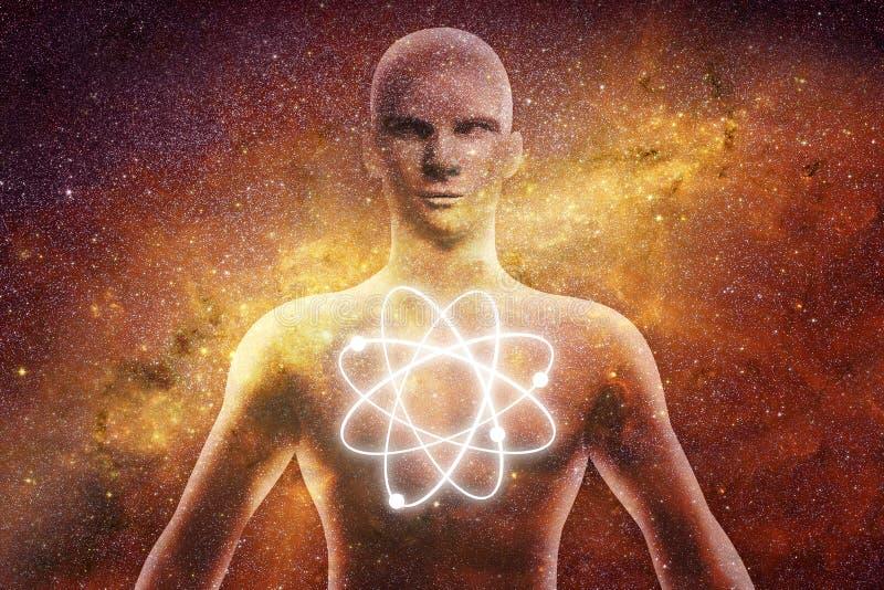 Человеческая диаграмма с энергией излучает вокруг его тела иллюстрация вектора