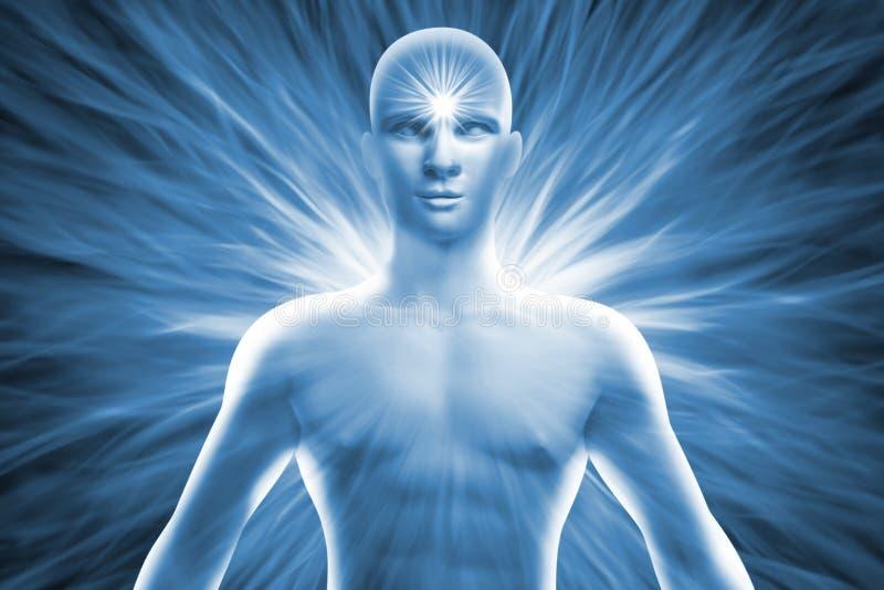 Человеческая диаграмма с энергией излучает вокруг его тела бесплатная иллюстрация